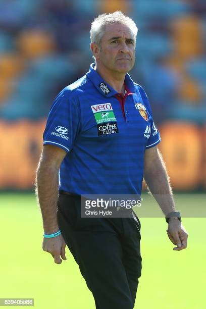 Lions coach Chris Fagan looks on during the round 23 AFL match between the Brisbane Lions and the North Melbourne Kangaroos at The Gabba on August 26...