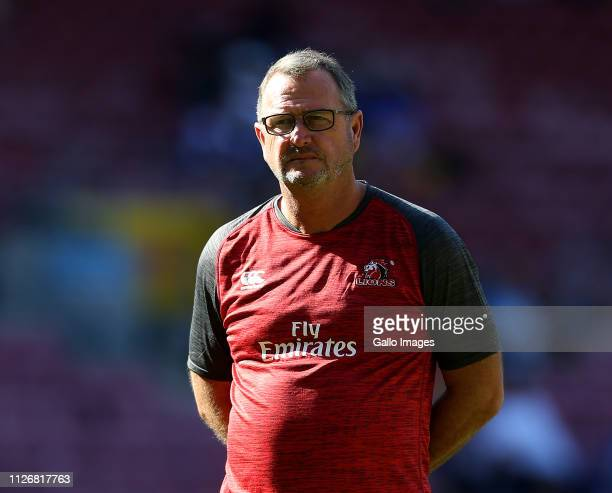 Lions coach Swys de Bruin during the Super Rugby match between DHL Stormers and Emirates Lions at DHL Newlands Stadium on February 23 2019 in Cape...