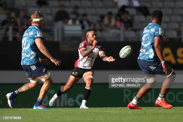 Lions' Elton Jantjies in action during the Super Rugby match between the New Zealand Blues and South Africa's Lions at Eden Park in Auckland on March...