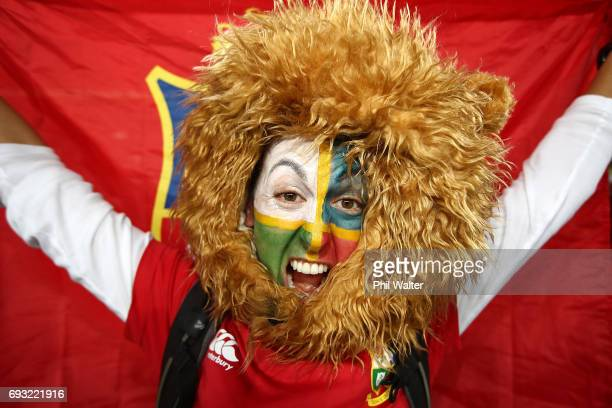 Lions fan before the match between the Auckland Blues and the British Irish Lions at Eden Park on June 7 2017 in Auckland New Zealand