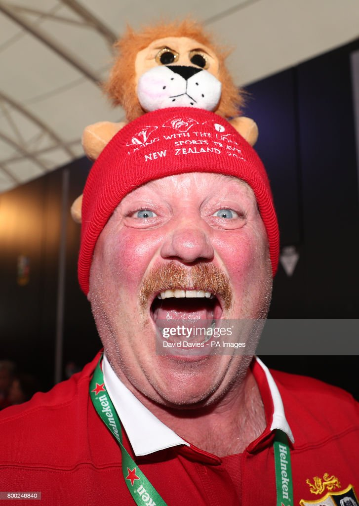 A Lions Fan In The Den Supporters Village Auckland Ahead Of