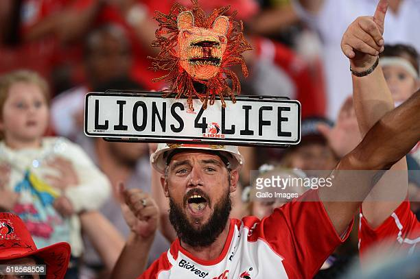 Lions fan shows his support during the Super Rugby match between Emirates Lions and Crusaders at Emirates Airline Park on April 01 2016 in...