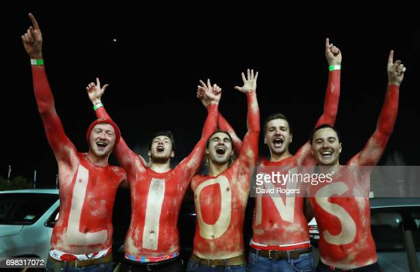 Lions fans celebrate after their victory during the match between the Chiefs and the British Irish Lions at Waikato Stadium on June 20 2017 in...