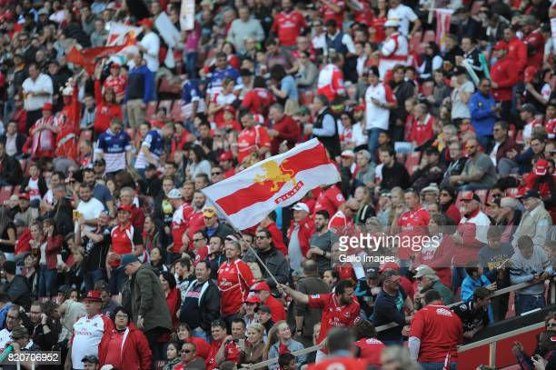 Lions fans during the Super Rugby Quarter final between Emirates Lions and Cell C Sharks at Emirates Airline Park on July 22 2017 in Johannesburg...