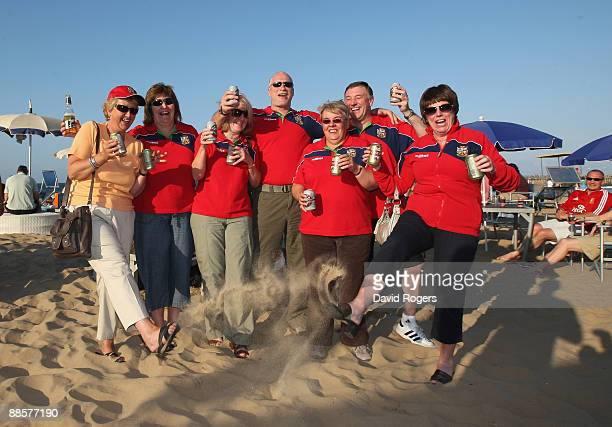 Lions fans soak up the atmosphere on North Beach on June 19 2009 in Durban South Africa