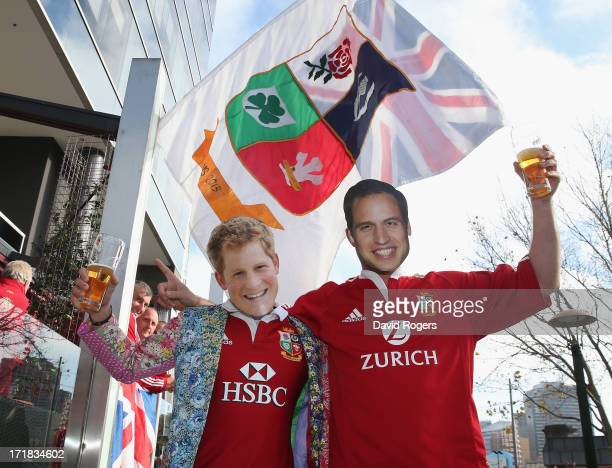 Lions fans wearing Prince William and Prince Harry masks show their support for the team prior to game two of the International Test Series between...