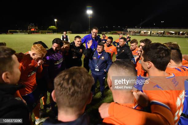 Lions FC players and coaching staff celebrate their victory in penalty shootouts in the NPL Semi Final match between Lions FC and Heidelberg United...