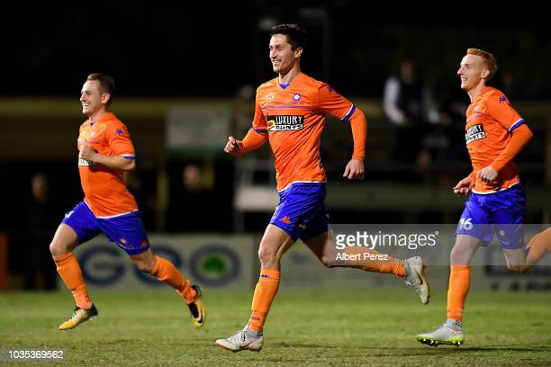 Lions FC players celebrate their victory after a penalty shootout during the NPL Semi Final match between Lions FC and Heidelberg United at Lions...