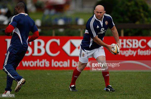 Lions forward John Hayes passes the ball during British and Irish Lions training at Bishops school on June 22, 2009 in Cape Town, South Africa.