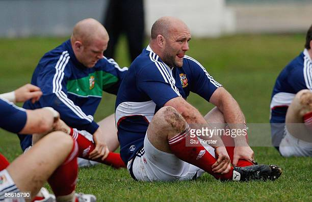Lions forward John Hayes stretches during British and Irish Lions training at Bishops school on June 22, 2009 in Cape Town, South Africa.