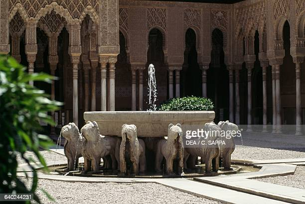 Lions fountain courtyard of the Lions Alhambra Granada Andalucia Spain 13th15th century