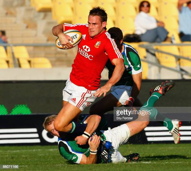 Lions full back Lee Byrne dives over to score a try during the match between Royal XV and The British Irish Lions on their 2009 Tour of South Africa...
