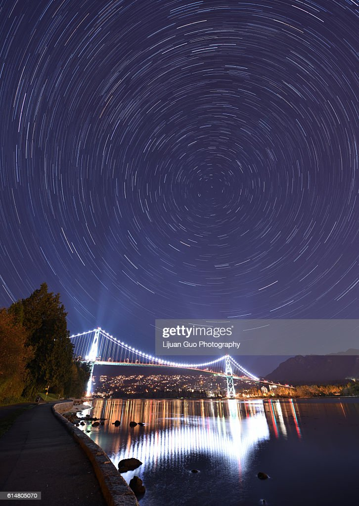Lions Gate Bridge and Star Trails, night at Stanley Park, Vancouver : Stock Photo