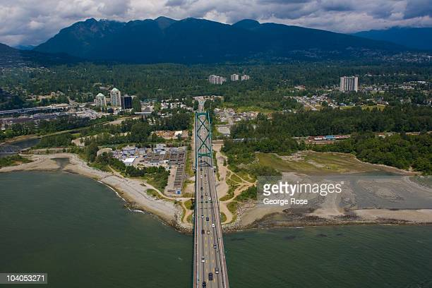 Lions Gate Bridge connecting downtown with North and West Vancouver is viewed from the air on July 2 2010 in Vancouver British Columbia Canada...
