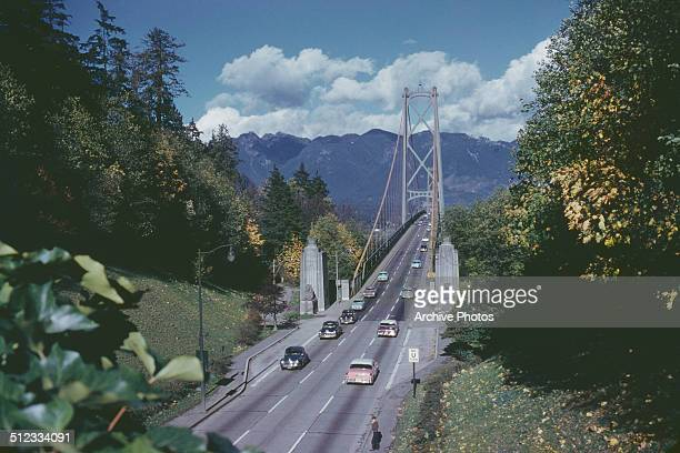 Lions Gate Bridge in Vancouver British Columbia Canada circa 1960