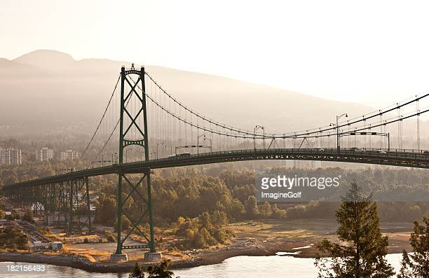 lion's gate bridge - stanley park stock photos and pictures