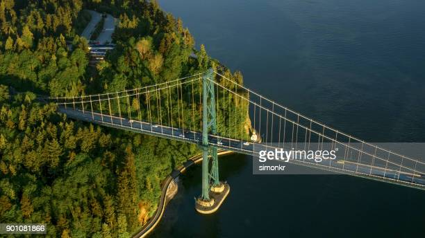 lions gate bridge - vancouver stock pictures, royalty-free photos & images