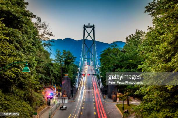lions gate bridge - vancouver canada stock pictures, royalty-free photos & images