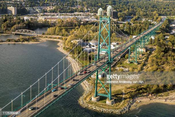 Lions Gate Bridge seen from the air, Vancouver, British Columbia, Canada
