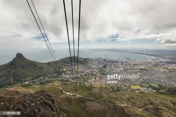 Lion's head from Table Mountain with Signal hill in South Africa with little view to Cape Town