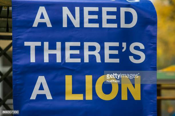Lions International logo is seen in Gdansk Poland on 21 October 2017 Lions Club Gdansk Gedania and Lions Clubs International charity organization...