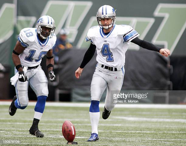 Lions Kicker Jason Hanson kicks off to the Jets during the Lions loss to the Jets by the score of 31 to 24 at the Meadowlands in East Rutherford, New...