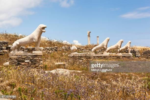 Lions of the Naxians, Terrace of the Lions, Delos Archaeological Site, Delos, near Mykonos, Greece