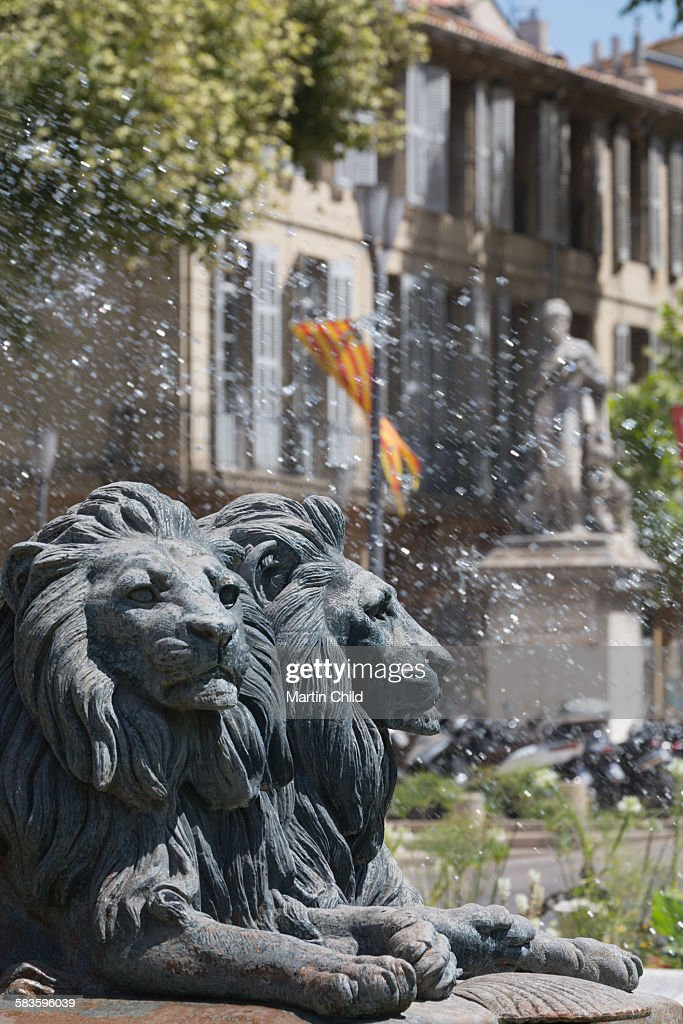 Lions on fountain in Aix en Provence : Stock Photo