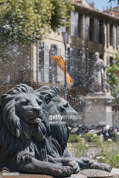 Lions on fountain in Aix en Provence