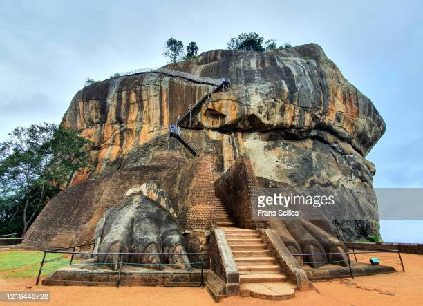 lion's paws and stairs to sigiriya rock fortress, sri lanka - sri lanka stock pictures, royalty-free photos & images