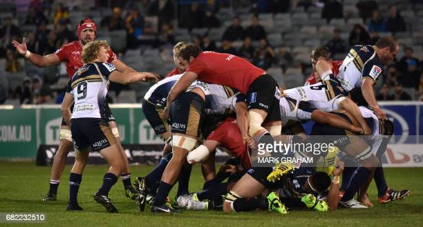 Lions player Andries Ferreira gets on top during the Super Rugby match between the ACT Brumbies and the South African Lions in Canberra on May 12...