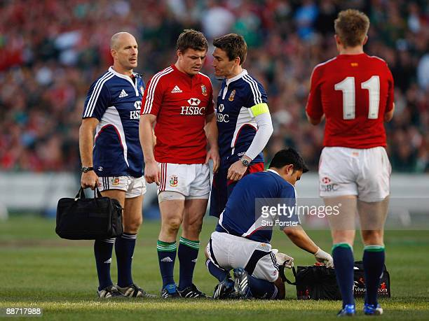 Lions player Brian O'Driscoll recieves treatment during the Second Test match between the South Africa and the British and Irish Lions at Loftus...