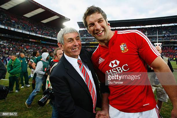 Lions player Simon Shaw is congratulated by coach Ian McGeechan after the Third Test match between South Africa and The British and Irish Lions at...