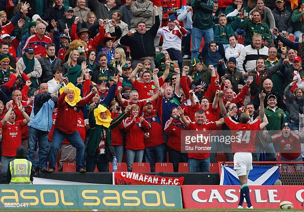Lions player Ugo Monye celebrates infront of Lions fans during the Third Test match between South Africa and The British and Irish Lions at Ellis...