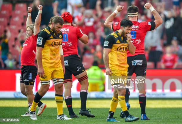 Lions players celebrate after the final whistle of the Super Rugby semifinal match between Lions and Hurricanes at Ellis Park Rugby Stadium in...