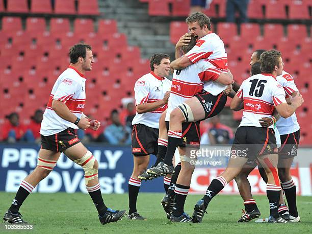 Lions players celebrate their win during the Absa Currie Cup Premier Division match between Xerox Lions and Vodacom Free State Cheetahs at Coca Cola...