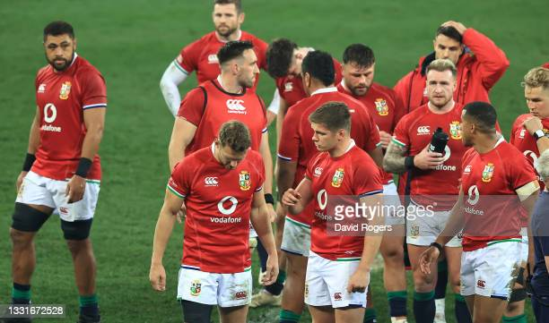 Lions players look dejected after their defeat during the 2nd test match between South Africa Springboks and the British & Irish Lions at Cape Town...
