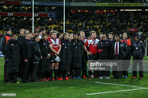 Lions players stand dejected after losing the 2016 Super Rugby Final match between the Hurricanes and the Lions at Westpac Stadium on August 6 2016...