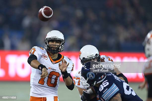 Lions quarterback Jonathon Jennings gets a pass off as the Toronto Argonauts play the BC Lions in Toronto October 30 2015