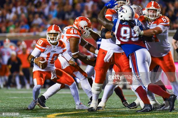 Lions quarterback Jonathon Jennings going outside the pocket to make a play during the BC Lions versus the Montreal Alouettes game on July 6 at...