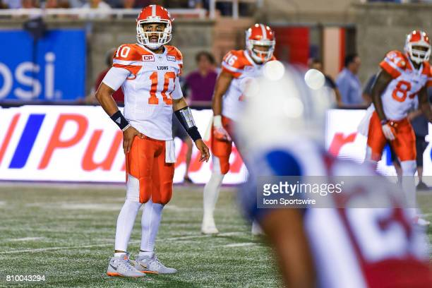 Lions quarterback Jonathon Jennings looking at the Montreal Alouettes defense during the BC Lions versus the Montreal Alouettes game on July 6 at...