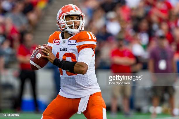 Lions quarterback Jonathon Jennings looks for an open receiver during Canadian Football League action between BC Lions and Ottawa RedBlacks on August...