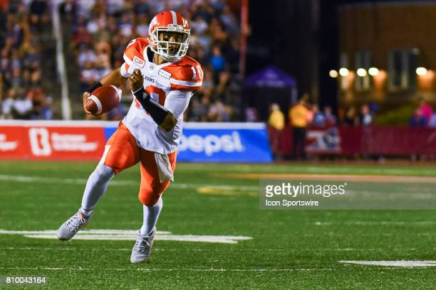 Lions quarterback Jonathon Jennings running with the ball during the BC Lions versus the Montreal Alouettes game on July 6 at Percival Molson...