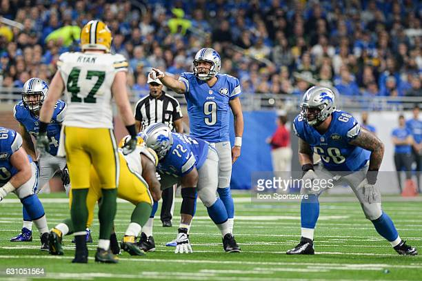 Lions quarterback Matthew Stafford calls out defenders during a NFC North NFL football game between Detroit and Green Bay on January 1 at Ford Field...