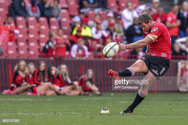 Lions' Ruan Combrink delivers the winning longrange penalty kick during the Super Rugby quarterfinal match between Lions and Sharks at the Ellis Park...