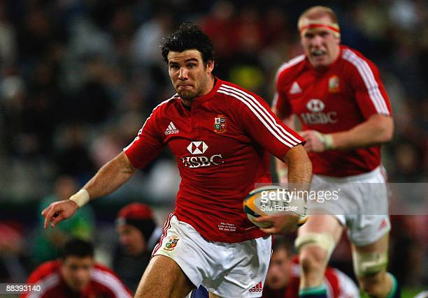 Lions scrum half Mike Phillips races to the line to score during the match between The Sharks and The British and Irish Lions at Absa Stadium on June...
