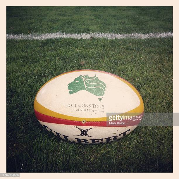 Lions Tour branded ball is seen pitch side during the match between Combined Country and the British & Irish Lions at Hunter Stadium on June 11, 2013...