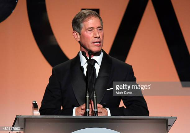 Lionsgate CEO Jon Feltheimer accepts the Milestone Award onstage during the 26th Annual Producers Guild Of America Awards at the Hyatt Regency...