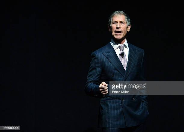 Lionsgate Entertainment CEO Jon Feltheimer speaks during a Lionsgate Motion Picture Group presentation at The Colosseum at Caesars Palace during...