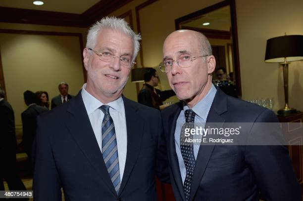 """Lionsgate Motion Picture Group CoChairman Rob Friedman and DreamWorks Animation CEO Jeffrey Katzenberg attend 2014 Will Rogers """"Pioneer of the Year""""..."""